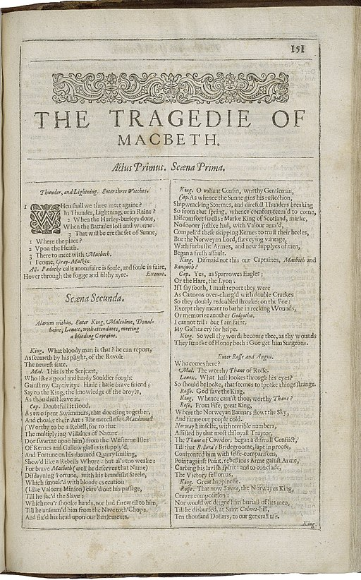Second Folio Title Page of Macbeth