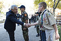 Secretary of Defense Chuck Hagel, left, greets Boy Scouts during a Veterans Day event at the Vietnam Veterans Memorial in Washington, D.C., Nov. 11, 2013 131111-D-BW835-1576.jpg