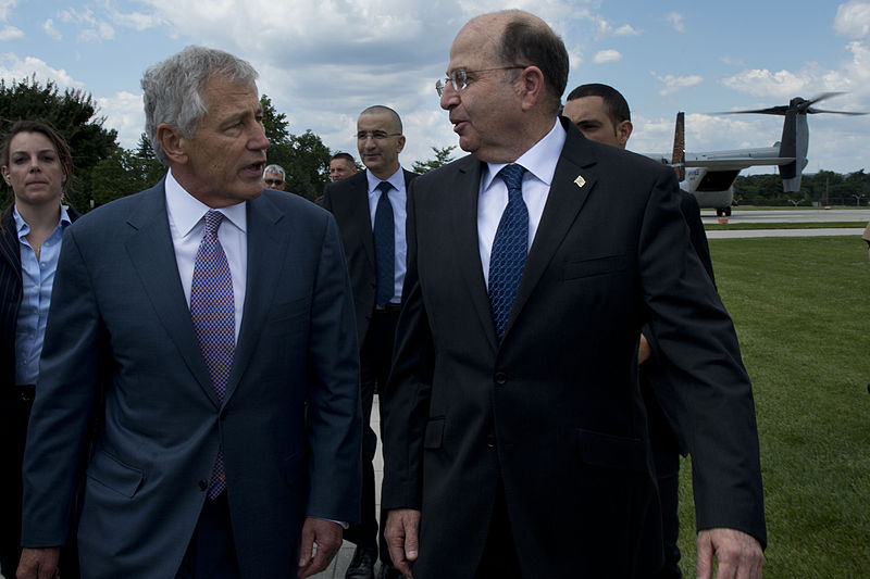 File:Secretary of Defense Chuck Hagel, left, walks with Israeli Minister of Defense Moshe Ya'alon outside the Pentagon in Arlington, Va., June 14, 2013 130614-D-BW835-205.jpg