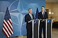 Secretary of Defense James Mattis hosts a joint press meeting with NATO Secretary General Jens Stoltenberg at the NATO Headquarters in Brussels, Belgium, February 15, 2017 (32538665930).jpg