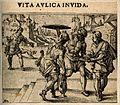 Servants taking food to their master; illustrating a scene i Wellcome V0007644.jpg