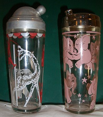 Cocktail shaker - Examples of shakers from the 1950s, left with spun aluminum cap, right with chromed steel cap