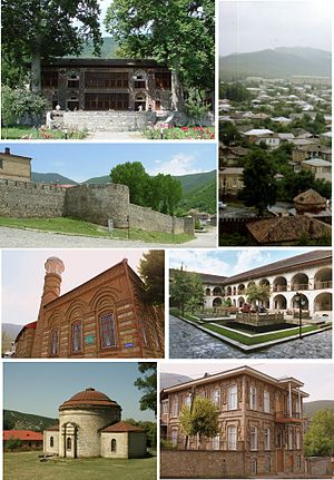 From top, left to right: Palace of Shaki Khans, View of the city, Shaki Fortress, Omar Efendi Mosque, Shaki Caravanserai, Round Temple, House in Shaki