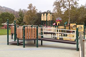 Shane's Inspiration - Griffith Park playground equipment with a rocket theme
