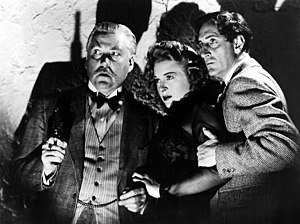 Evelyn Ankers - Nigel Bruce, Ankers and Basil Rathbone in Sherlock Holmes and the Voice of Terror