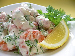 shrimp (boiled), lemon juice, fresh cream, may...
