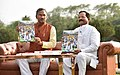 Shripad Yesso Naik along with the Chief Minister of Uttarakhand, Shri Trivendra Singh Rawat at a Yoga Day special show, on the eve of the 4th International Day of Yoga 2018, at the Forest Research Institute, in Dehradun (1).JPG