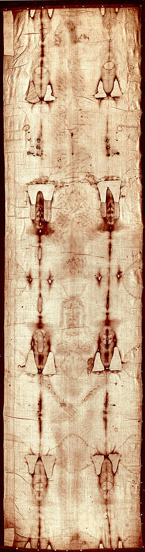 Shroud of Turin - Full-length image of the Turin Shroud before the 2002 restoration.