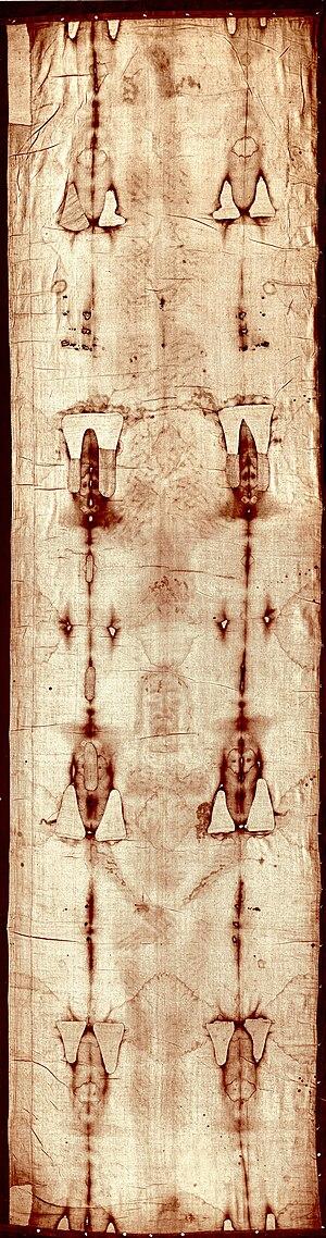 Shroud of Turin - Full-length image of the Turin Shroud before the 2002 restoration.
