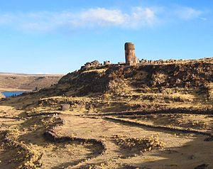 English: The largest chullpa on the Sillustani...