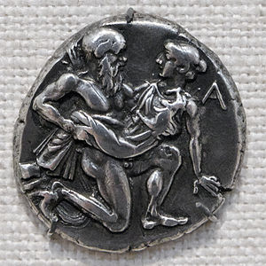 Archilochus - Coin from ancient Thasos showing Satyr and nymph, dated to late fifth century BC. Archilochus was involved in the Parian colonization of Thasos about two centuries before the coin was minted. His poetry includes vivid accounts of life as a warrior, seafarer and lover.