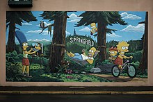 Simpsons mural- Springfield courtesy of Eugene, Cascades & Coast