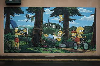 Springfield, Oregon - Image: Simpsons mural downtown springfield by thomas moser