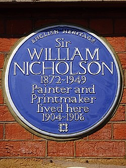 Sir william nicholson painter and printmaker lived here 1904 1906