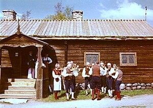 Spelmanslag - A spelmanslag plays at Skansen in 1972.