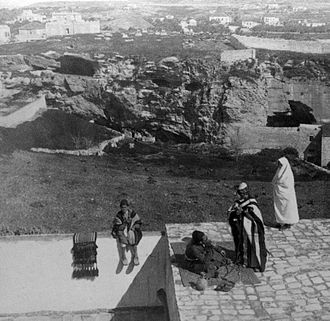 The Garden Tomb - Skull Hill as seen in 1901 from the northern walls of Jerusalem's Old City.