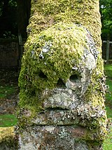 Skull on a gravestone edge, at Durisdeer