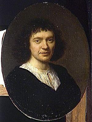 Pieter Cornelisz van Slingelandt - Self-portrait in oval frame.