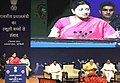 Smriti Irani addressing at a function on eve of the Teachers' Day, at Manekshaw Centre, in New Delhi. The Prime Minister, Shri Narendra Modi and the Ministers of State for Human Resource Development.jpg
