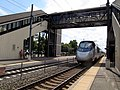 Southbound Acela under the bridge at Kingston.JPG