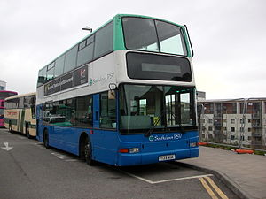 Southdown PSV - Plaxton President bodied DAF DB250 at Brighton station