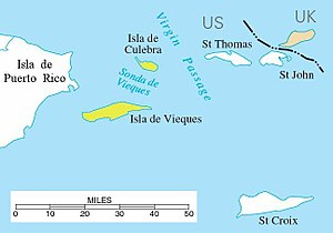 Spanish Virgin Islands - Location of the Spanish Virgin Islands (yellow) between Puerto Rico (left) and Saint Thomas, U.S. Virgin Islands