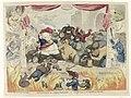 Spotprent op de paniek onder de patriotten na het herstel van stadhouder Willem V, 1787 Amsterdam in a dam'd predicament, - or - The Last Scene of the Republican Pantomime (titel op object), RP-P-OB-77.563.jpg
