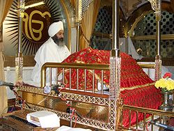 Sikh man in attendance to the Sri Guru Granth Sahib.