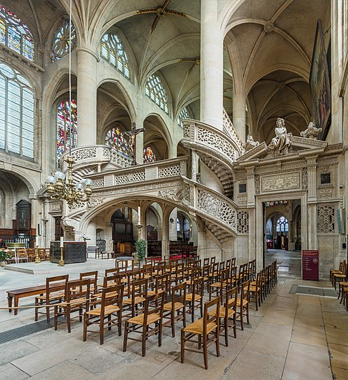 The rood loft viewed from the south-west. St-Etienne-du-Mont Interior 3, Paris, France - Diliff.jpg
