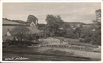 West Milton, Dorset - Historic photograph of West Milton, with the 19th-century church of St Mary Magdalene centre left