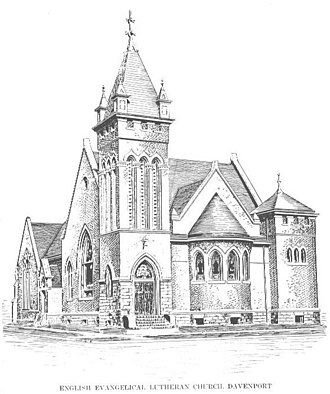 St. Paul Lutheran Church (Davenport, Iowa) - The 1902 church with the front of the 1882 church, which can be seen at the far left.