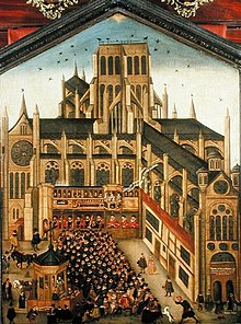 A colourful painting of a sermon being preached to hundreds of people from a wooden pulpit in the grounds of the old cathedral. The perspective of the image is wrong, making the people look huge by comparison to the building.