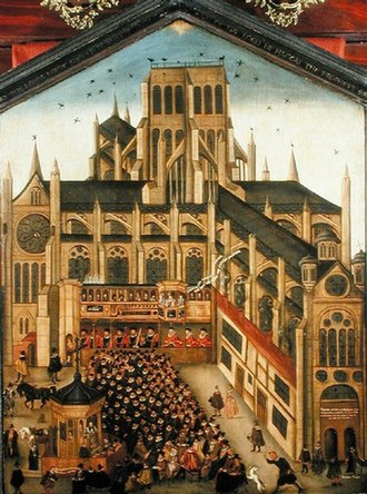 Perspective (graphical) - Geometrically incorrect attempt at perspective in a 1614 painting of Old St Paul's Cathedral. (Society of Antiquaries)