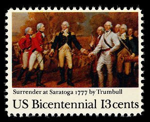 Bicentennial Series - 1977 postage stamp commemorating the surrender at Saratoga