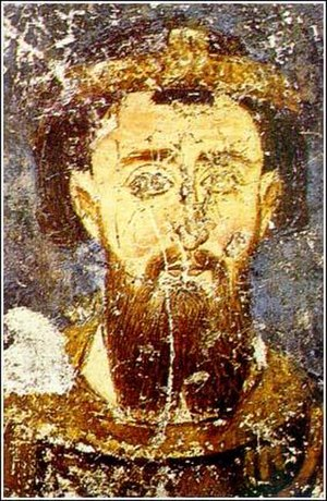 Stefan the First-Crowned - Fresco from Mileševa, dated before 1228