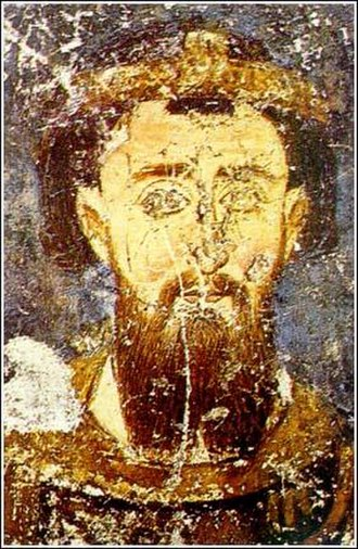 Theodore Komnenos Doukas - 13th-century fresco portrait of Stefan II Nemanjić, from the Mileševa monastery