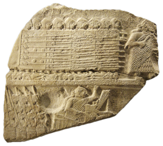 Close order formation - Close order formation: The Stele of Vultures represents a Sumerian phalanx of spearmen with large shields. (c. 2450 BC)