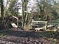 Stiles and footbridges at path junction - geograph.org.uk - 1670079.jpg
