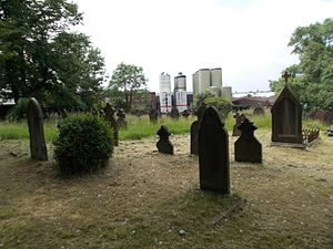 Nechells - St Josephs' cemetery, with Aston Manor Brewery in the background.