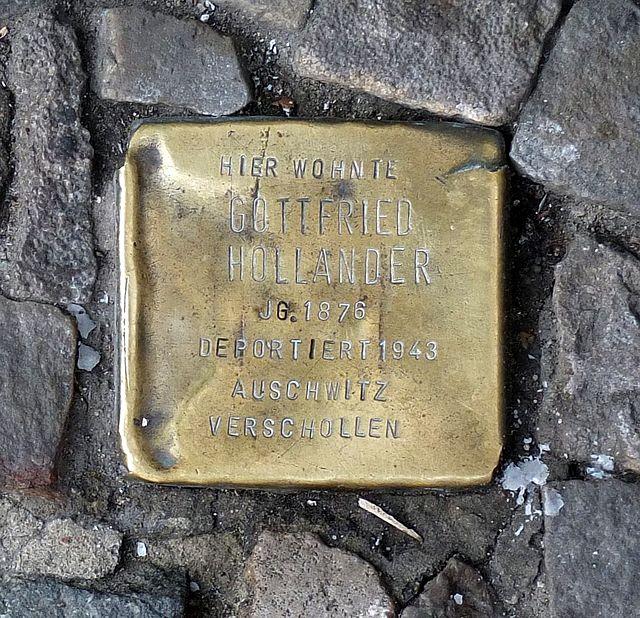 Photo of Gottfried Hollander brass plaque