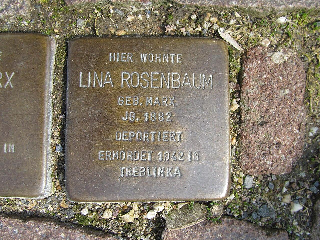 Stolperstein Lina Rosenbaum, 1, Pferdemarkt 8, Frankenberg, Landkreis Waldeck-Frankenberg.jpg