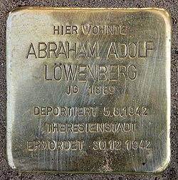 Photo of Abraham Adolf Löwenberg brass plaque