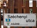 Street sign and bell, Széchenyi Street, Agárd, 2017 Gárdony.jpg