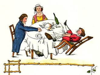 Struwwelpeter - Zappel-Philipp. Illustration from the 1845 edition.