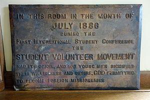 Student Volunteer Movement - Memorial plaque for the origin of the Student Volunteer Movement, July 1886, Northfield Mount Hermon School