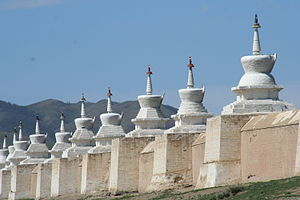 Karakorum - Stupas around Erdene Zuu monastery in Karakorum