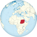 Sudan on the globe (de-facto) (North Africa centered).svg