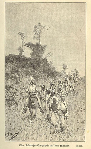 Abushiri revolt - A German company of Sudanese on the march during the Abushiri Revolt (Rudolf Hellgrewe, 1891)