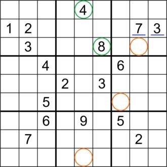 Sudoku solving algorithms - Image: Sudoku Puzzle (17 clue R929 3E01) hilite