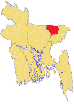 Location of Sunamganj in Bangladesh